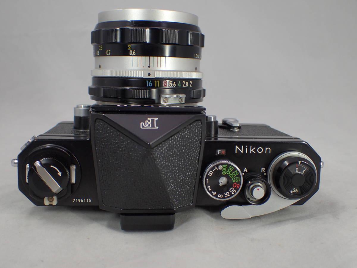 NIKON F ブラック ニコン エフ + NIKKOR-H Auto 50㎜f2 箱付 動作確認済み_画像6