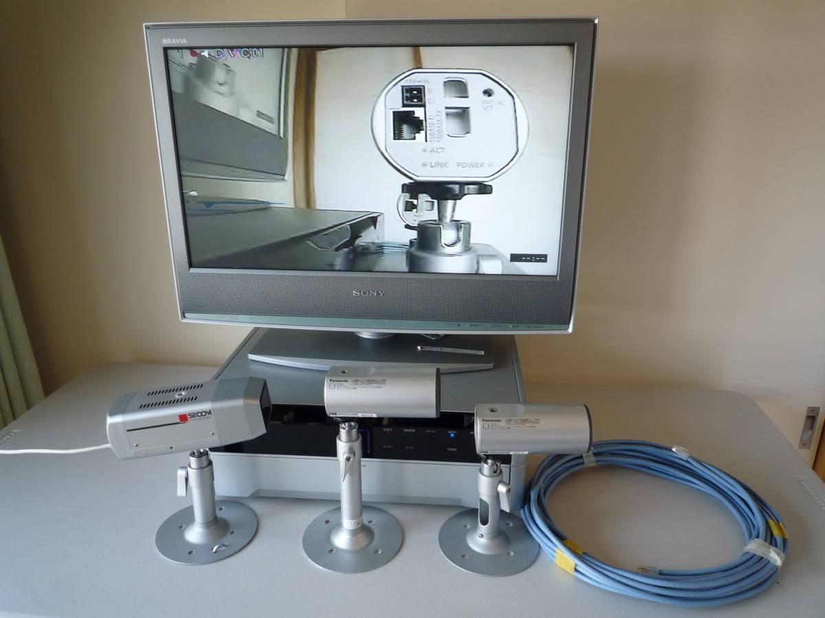 セコム防犯カメラ・レコーダーセット・常時エンドレス上書き録画・長期保存・連休前にどうですか・本物セコムのカメラです・ランケーブル付