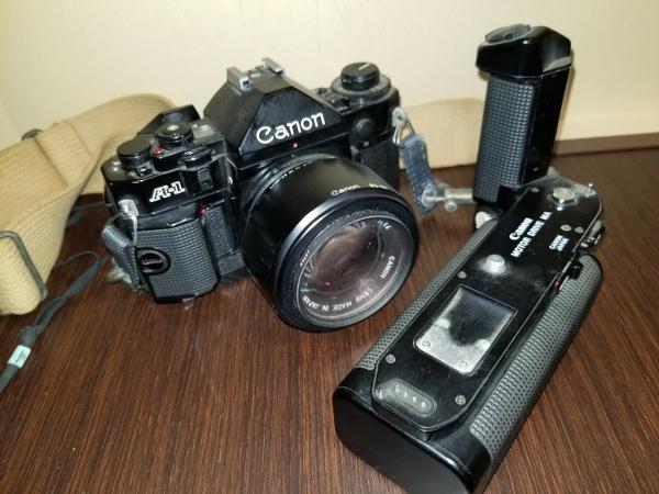 4-7 Canon キャノン A-1 / モータードライブMA / その他レンズ付属品ジャンクおまとめ_画像2