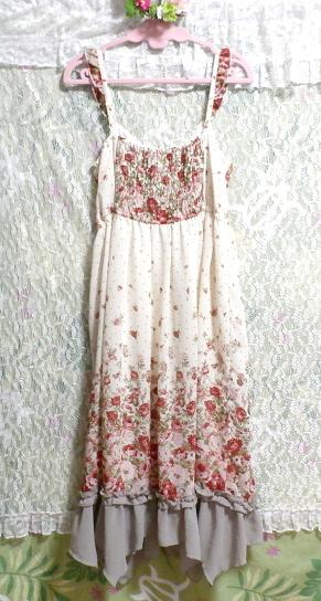 白ホワイトシフォンフリルキャミソール花柄マキシワンピースドレス White chiffon ruffle camisole flower pattern maxi onepiece dress_画像4