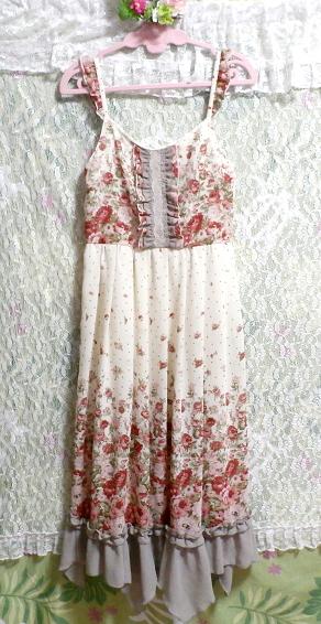 白ホワイトシフォンフリルキャミソール花柄マキシワンピースドレス White chiffon ruffle camisole flower pattern maxi onepiece dress_画像3