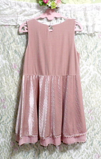 ピンクお姫様光沢レースネックフリルチュニックミニスカートワンピース Pink princess glossy lace neck frill tunic mini skirt onepiece_画像4