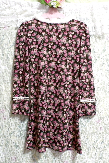 白ホワイトラビットファー襟花柄長袖チュニック/トップス White rabbit fur flower pattern long sleeve tunic/tops_画像3