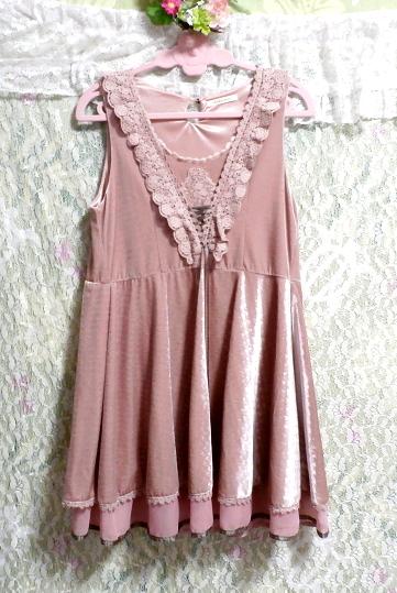 ピンクお姫様光沢レースネックフリルチュニックミニスカートワンピース Pink princess glossy lace neck frill tunic mini skirt onepiece_画像3