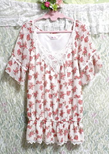 銀ボタン宝飾ピンク花柄白レース半袖チュニック/トップス Silver button pink floral pattern white lace short sleeve tunic/tops_画像3