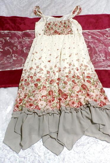 白ホワイトシフォンフリルキャミソール花柄マキシワンピースドレス White chiffon ruffle camisole flower pattern maxi onepiece dress_画像1