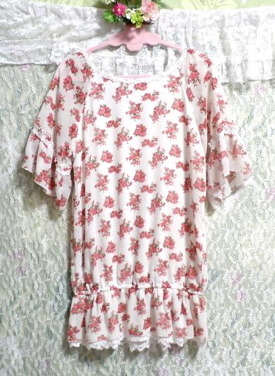 銀ボタン宝飾ピンク花柄白レース半袖チュニック/トップス Silver button pink floral pattern white lace short sleeve tunic/tops_画像4