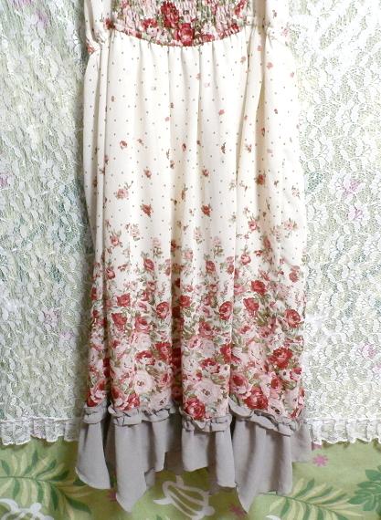 白ホワイトシフォンフリルキャミソール花柄マキシワンピースドレス White chiffon ruffle camisole flower pattern maxi onepiece dress_画像6