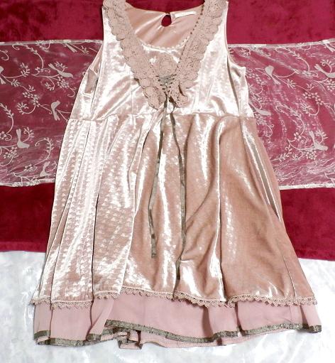 ピンクお姫様光沢レースネックフリルチュニックミニスカートワンピース Pink princess glossy lace neck frill tunic mini skirt onepiece_画像1