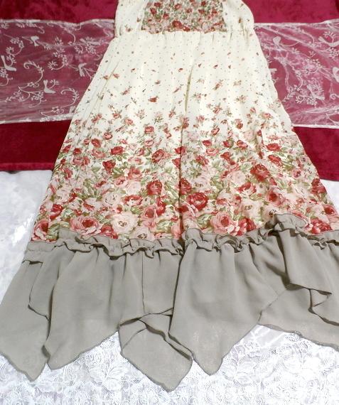 白ホワイトシフォンフリルキャミソール花柄マキシワンピースドレス White chiffon ruffle camisole flower pattern maxi onepiece dress_画像2