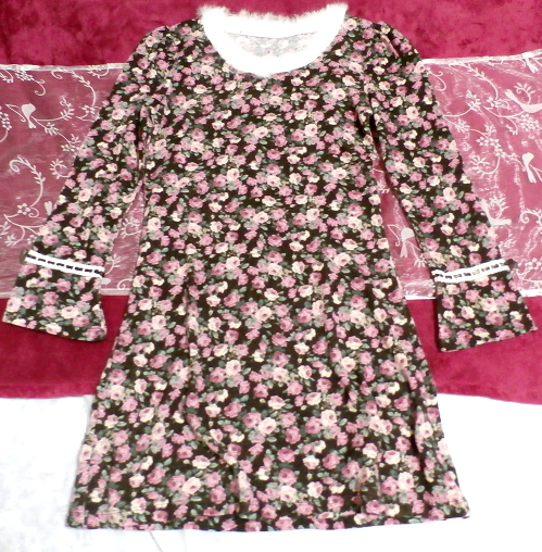 白ホワイトラビットファー襟花柄長袖チュニック/トップス White rabbit fur flower pattern long sleeve tunic/tops_画像1