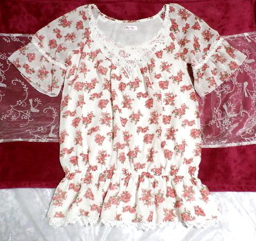 銀ボタン宝飾ピンク花柄白レース半袖チュニック/トップス Silver button pink floral pattern white lace short sleeve tunic/tops_画像1