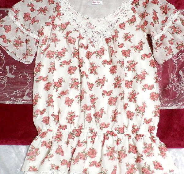 銀ボタン宝飾ピンク花柄白レース半袖チュニック/トップス Silver button pink floral pattern white lace short sleeve tunic/tops_画像2