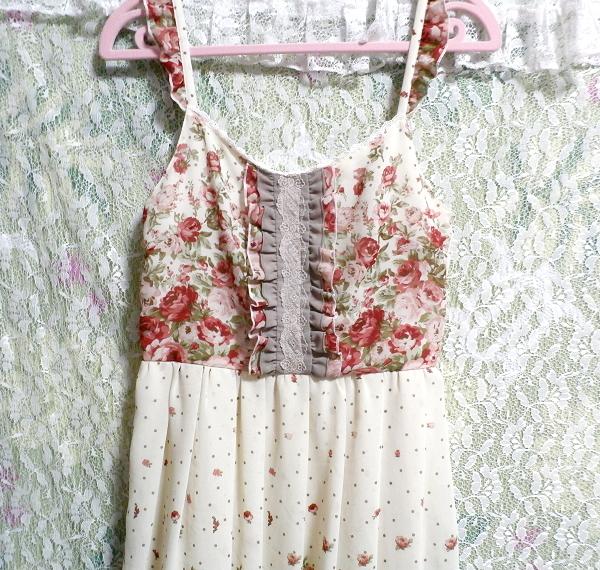 白ホワイトシフォンフリルキャミソール花柄マキシワンピースドレス White chiffon ruffle camisole flower pattern maxi onepiece dress_画像5