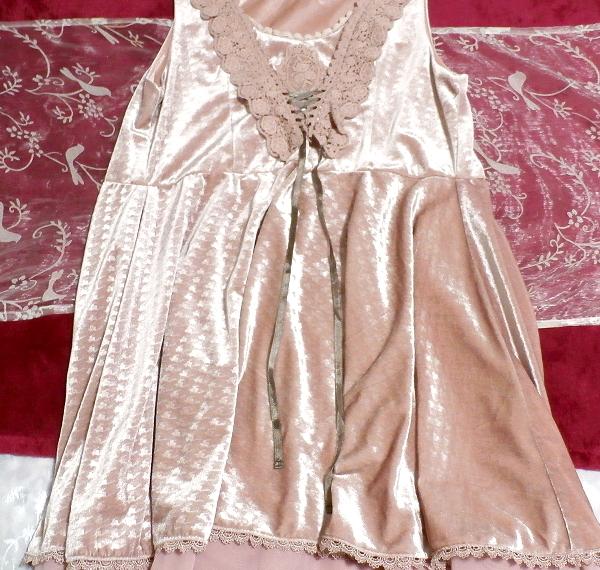 ピンクお姫様光沢レースネックフリルチュニックミニスカートワンピース Pink princess glossy lace neck frill tunic mini skirt onepiece_画像2