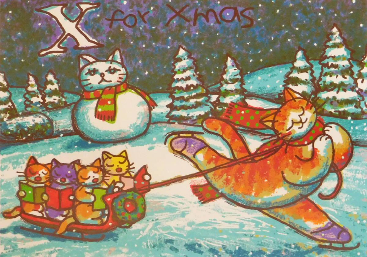マイケル・ルー X・フォー・クリスマス シルクスクリーン版画 猫 動物画_画像4