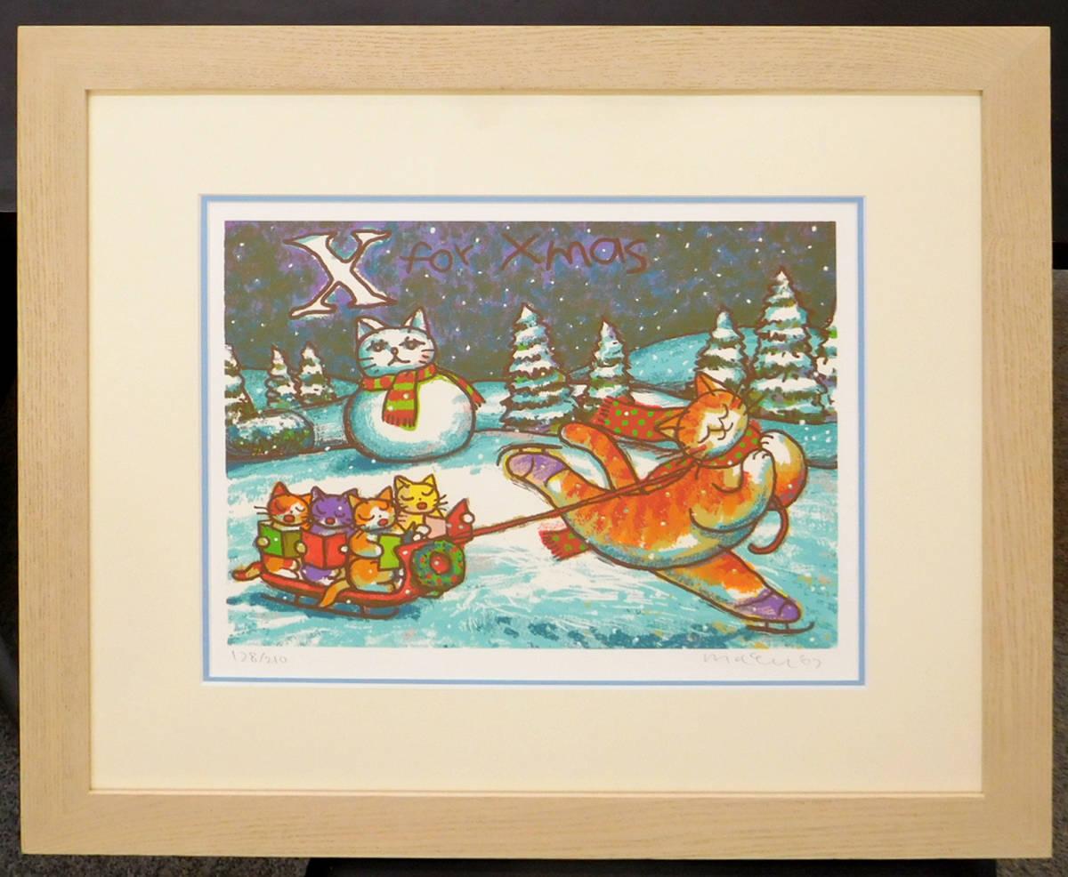 マイケル・ルー X・フォー・クリスマス シルクスクリーン版画 猫 動物画