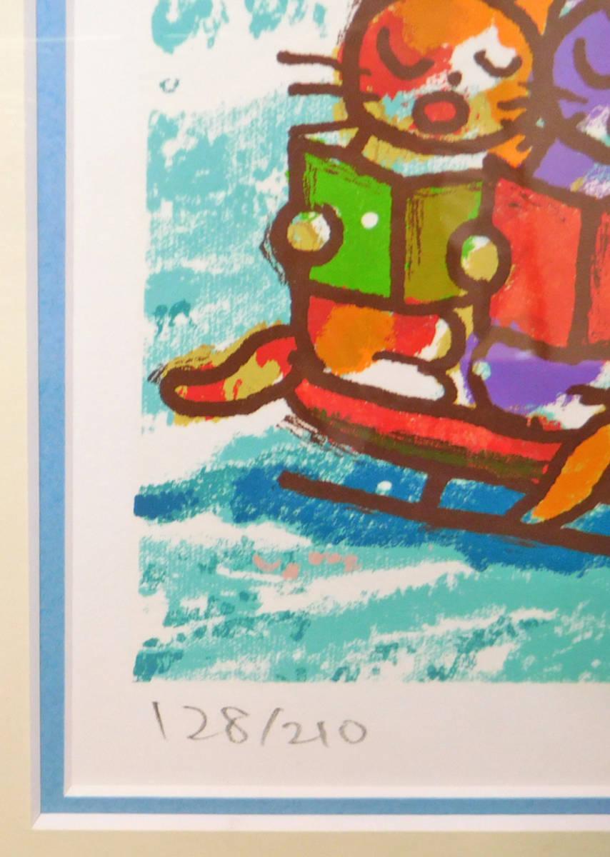 マイケル・ルー X・フォー・クリスマス シルクスクリーン版画 猫 動物画_画像2