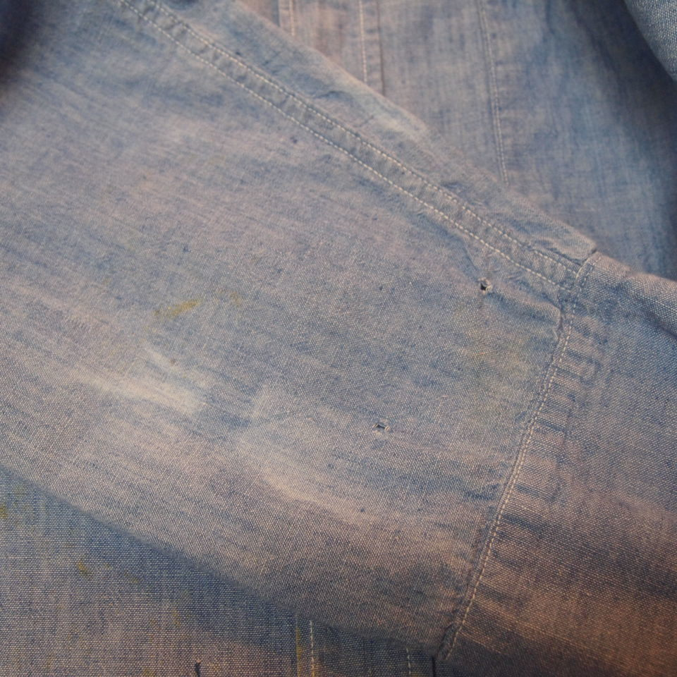 [14] 40s 50s 米軍実物 USN シャンブレー シャツ ミリタリー NAVY 海軍 ビンテージ アメリカ軍 オリジナル ワーク 黒シャン_画像9