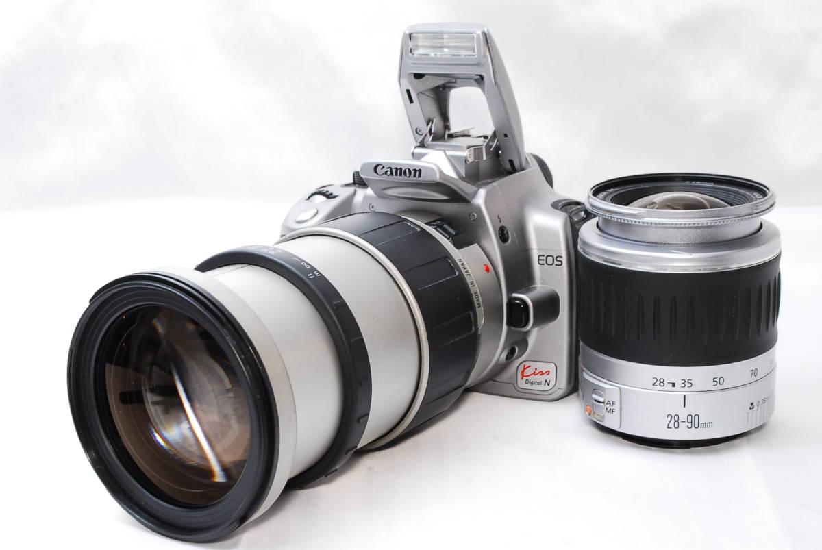 ★【美品 スターターセット】Canon EOS Kiss Digital N ★EF28-90 II USM & TAMRON AF28-200 ダブルレンズ シルバー カメラバック 3018