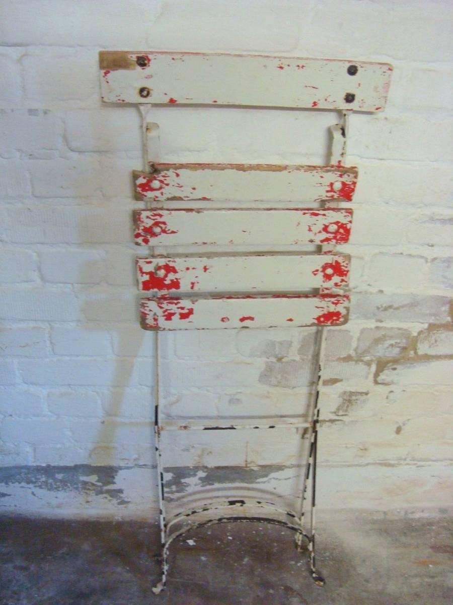 フランス アンティーク アイアン 木製 ガーデンチェア 折りたたみ椅子 家具 古道具 店舗什器 インダストリアル シャビー ディスプレイ 庭_画像2