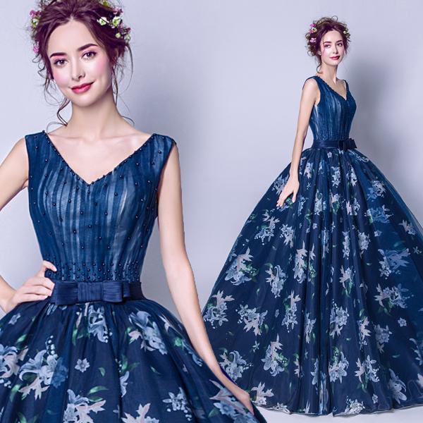素敵なカラードレス 結婚式 披露宴 お色直し 二次会 パーティー 演奏会 発表会 ステージ衣装 TS225_画像1