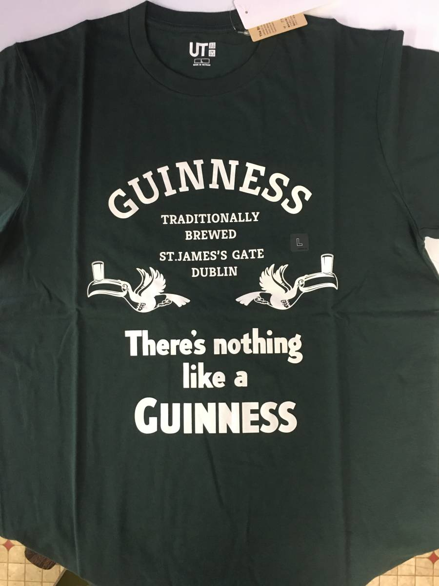 新品・未着品 ギネスTシャツ ユニクロ L ダークグリーン ギネスビール