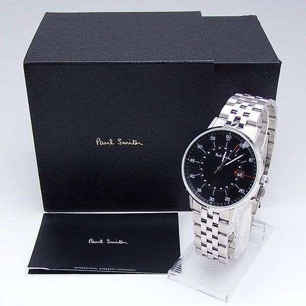 美品 Paul Smith P10073 GAUGE 腕時計 ポールスミス クォーツ 黒文字盤 1円スタート ステンレス