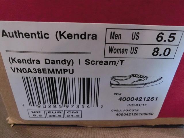 ★USA購入 超激レア バンズ【Vans】x【KENDRA DANDY】コラボ キャンバス素材 ソフトクリーム絵柄 オーセンティック【Authentic】24.5㌢_画像9