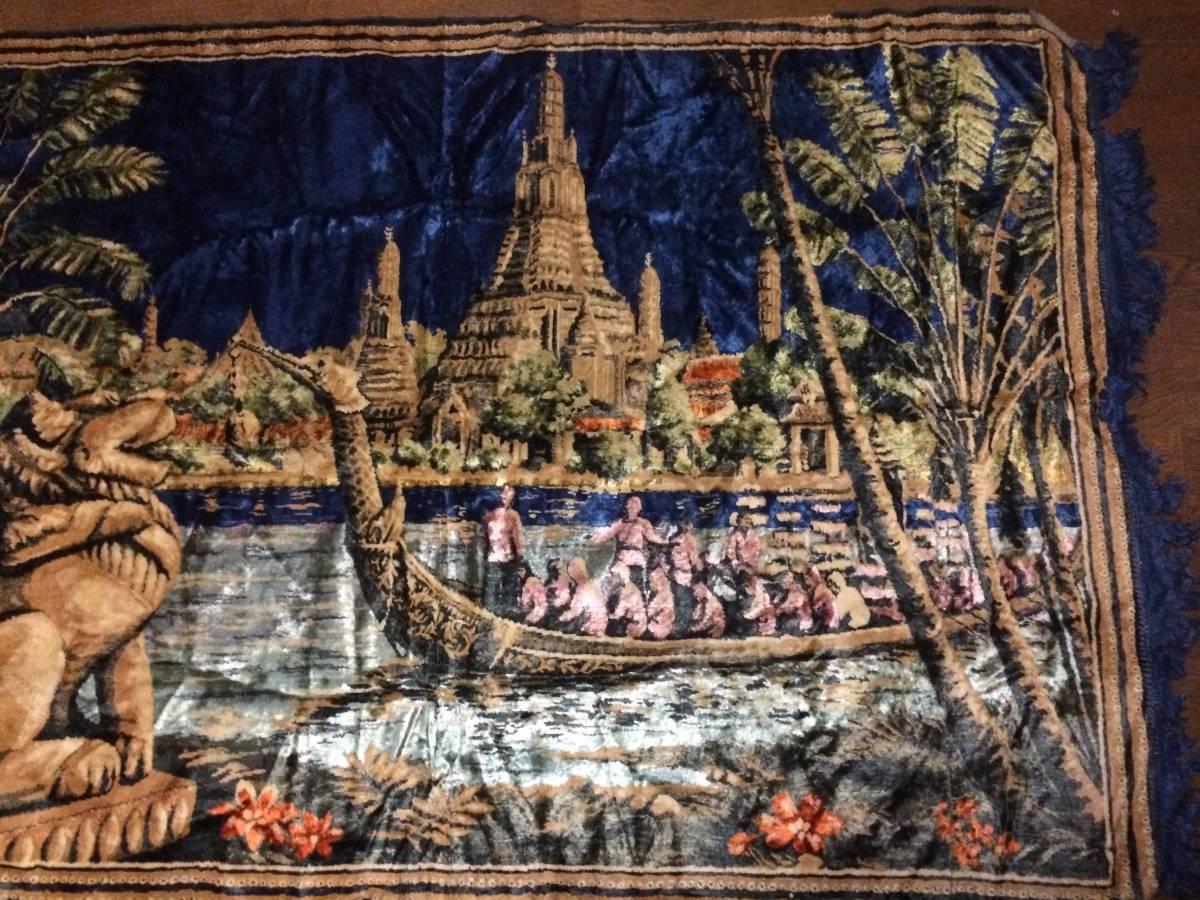 ビンテージ アジアン ラグ アンコールワット柄 遺跡 カンボジア 東南アジア マット カーペット アンティーク 172x116cm_画像3