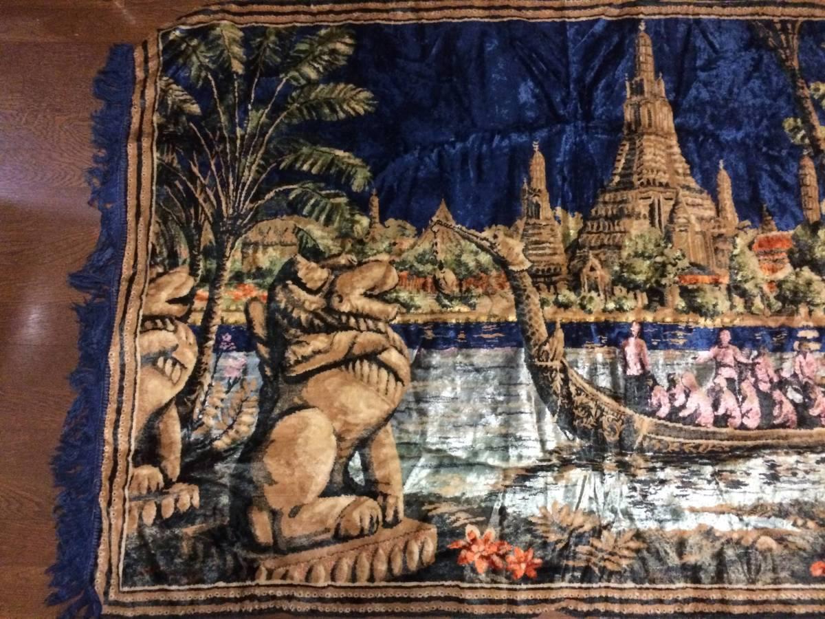ビンテージ アジアン ラグ アンコールワット柄 遺跡 カンボジア 東南アジア マット カーペット アンティーク 172x116cm_画像2