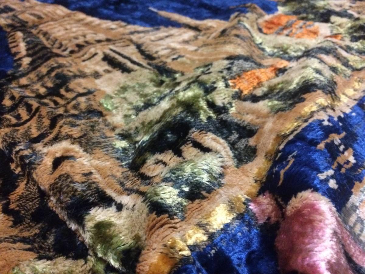 ビンテージ アジアン ラグ アンコールワット柄 遺跡 カンボジア 東南アジア マット カーペット アンティーク 172x116cm_画像5