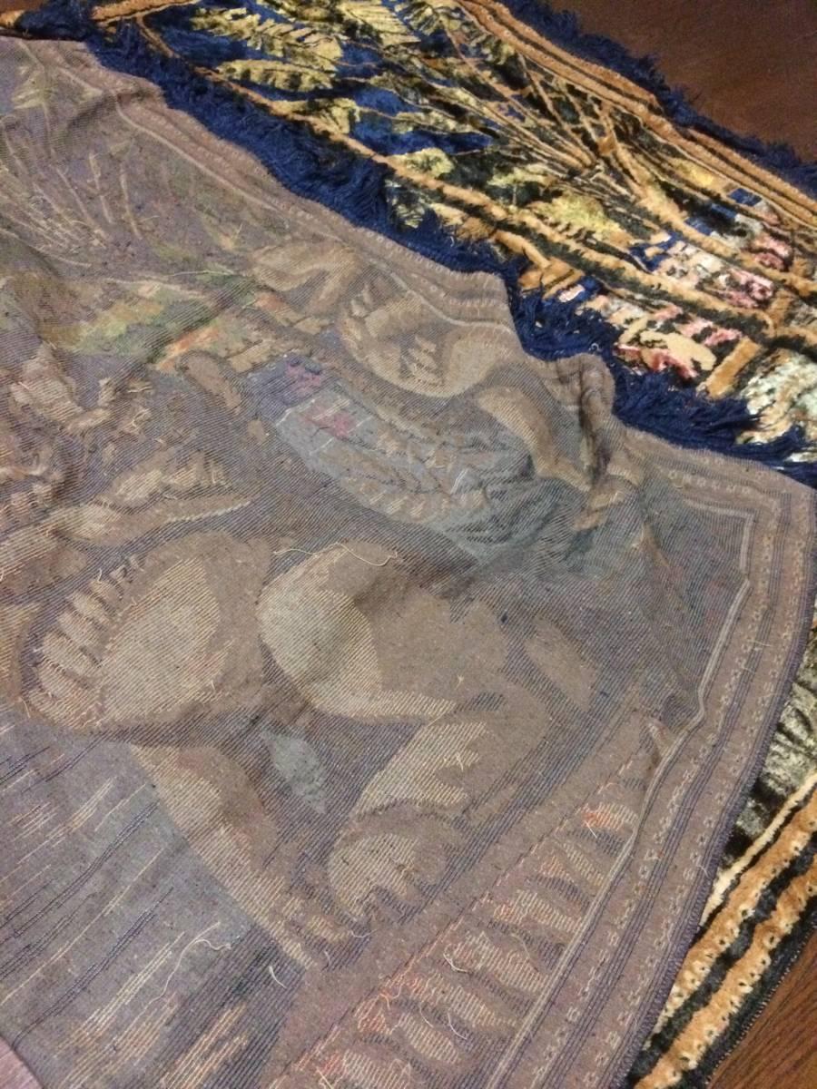 ビンテージ アジアン ラグ アンコールワット柄 遺跡 カンボジア 東南アジア マット カーペット アンティーク 172x116cm_画像6