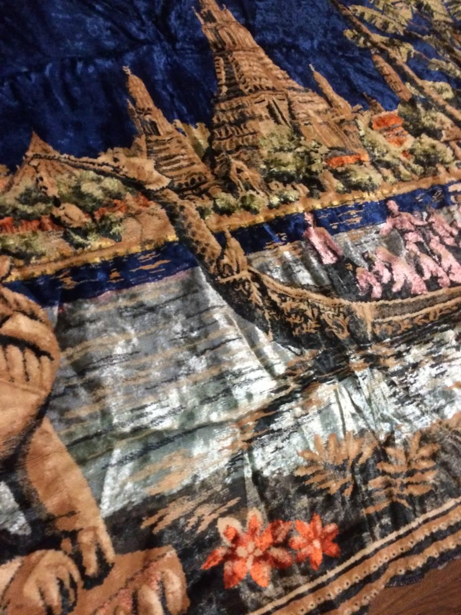 ビンテージ アジアン ラグ アンコールワット柄 遺跡 カンボジア 東南アジア マット カーペット アンティーク 172x116cm_画像4