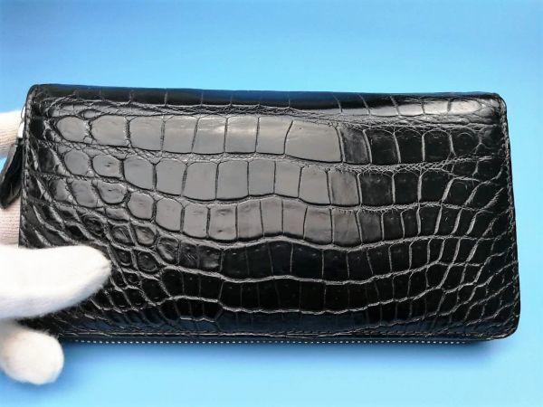 匠の神【!鑑定大歓迎】クロコダイル 極上腹革使用ラウンドファスナー長財布本物保証 一枚