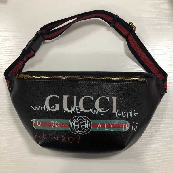 7222d459b9d1 man and woman use GUCCI Gucci waist bag black : Real Yahoo auction ...