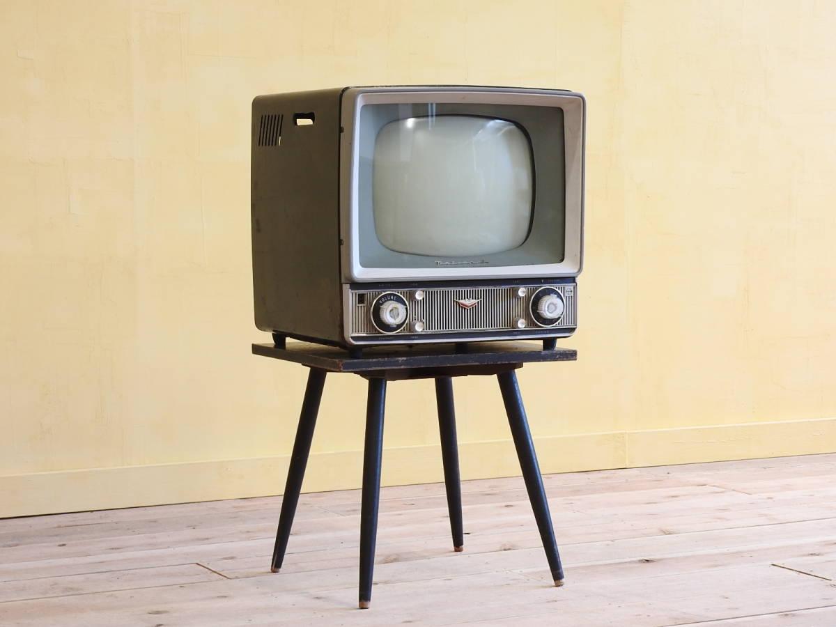□昭和レトロ ナショナルT14-R1P 古いテレビ/回転式テレビ台付き 真空管 昭和レトロ店舗什器インテリアディスプレイnational