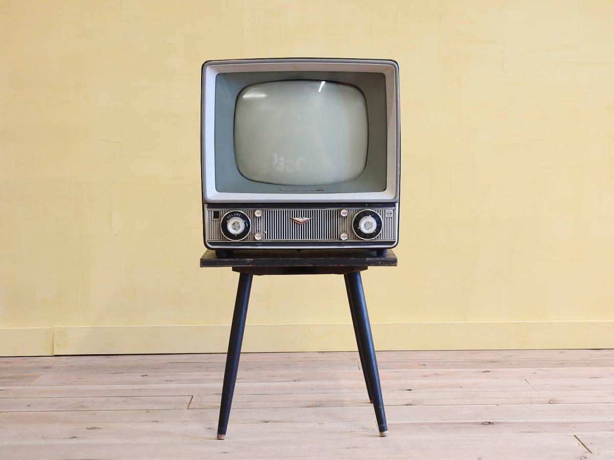 □昭和レトロ ナショナルT14-R1P 古いテレビ/回転式テレビ台付き 真空管 昭和レトロ店舗什器インテリアディスプレイnational_画像5