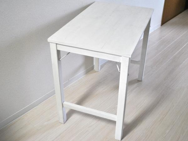 無印良品パイン材テーブル・折りたたみ式 幅80 奥50 高70 ホワイト再塗装