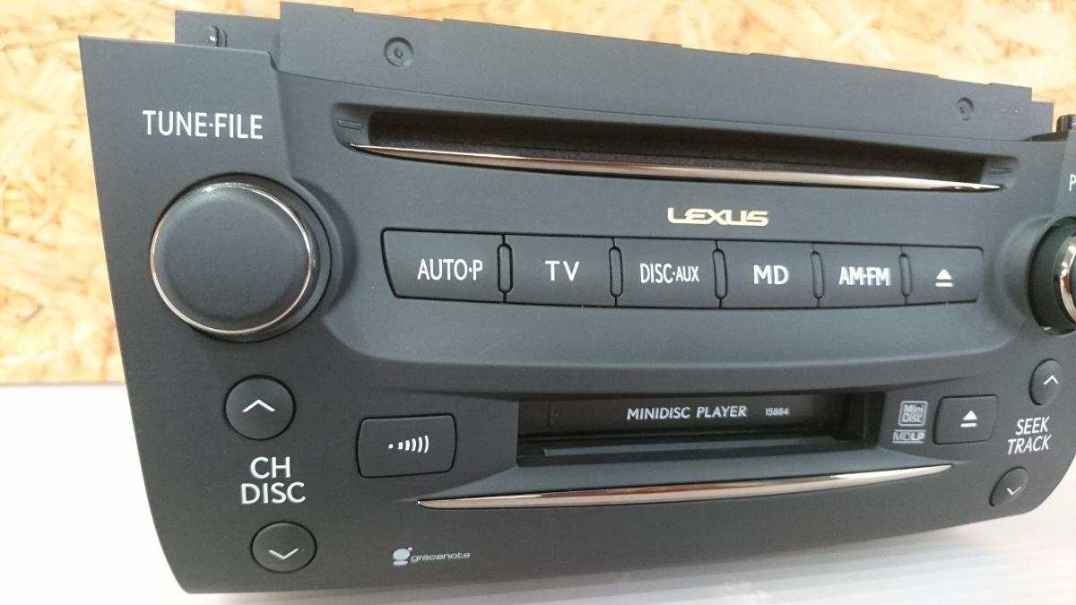 管u300504-0603 レクサス LEXUS GS460 URS190 / 純正 カー オーディオ CD&MD デッキ 動作確認済 良品 GS350 GS450 GS430 GRS_画像2