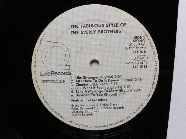 独復刻盤良品 The Fabulous Style of The Every Brothers 2ndアルバム/ビートルズも影響を受けたハーモニー・ヴォーカル・サウンド_画像3
