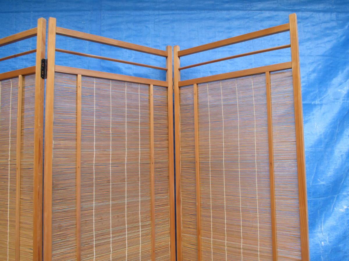 【湖華】衝立/検)4枚折夏屏風煤竹簾戸パーテーション茶室改装和装建具店舗什器8510浪2_画像5