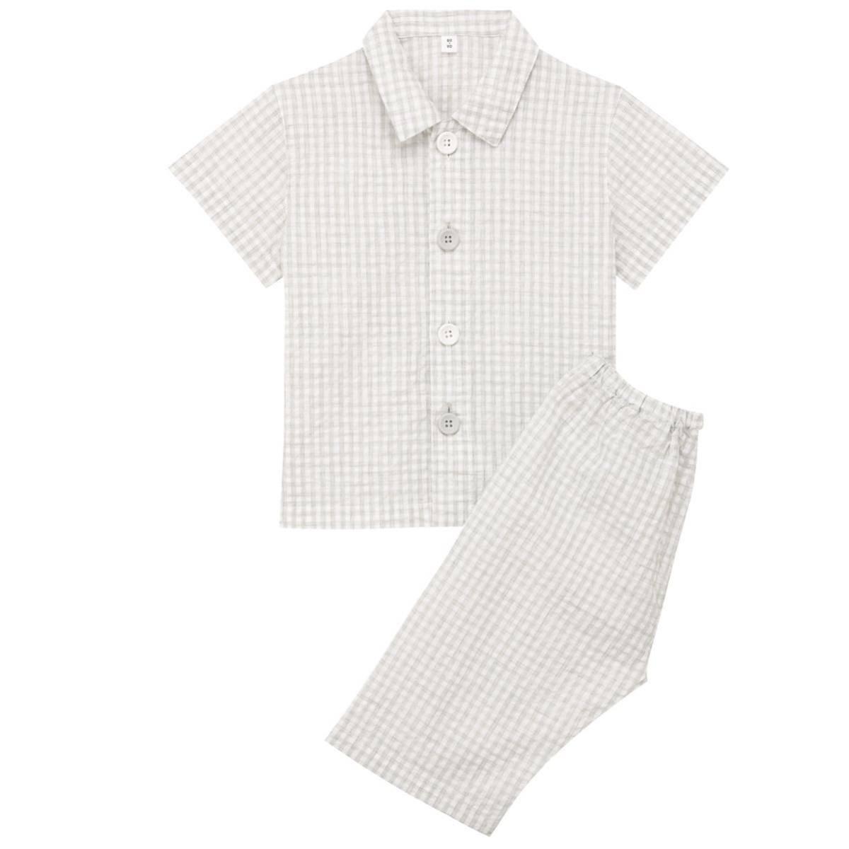 新品未使用【無印良品】オーガニックコットンサッカーお着替え半袖パジャマ100~110グレー