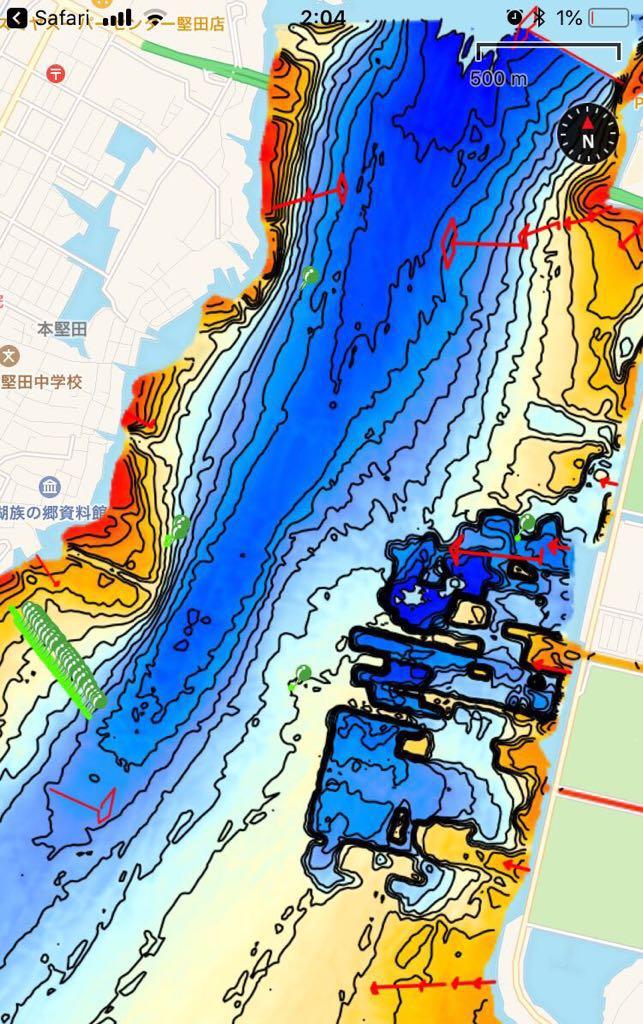 【スマホ南湖マップver4.0】IOS用 googleearth琵琶湖南湖全域マップデータ 自船位置追従 ヘディング対応 オフラインで使用可能_ポイント、パスは別出品物の表示例です