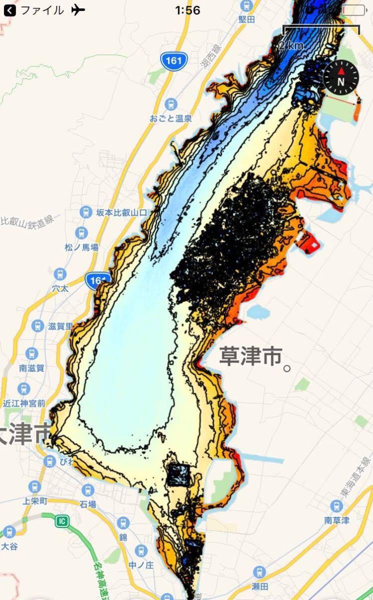 【スマホ南湖マップver4.0】IOS用 googleearth琵琶湖南湖全域マップデータ 自船位置追従 ヘディング対応 オフラインで使用可能_画像1