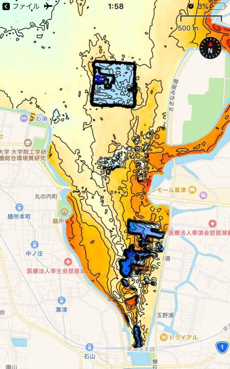 【スマホ南湖マップver4.0】IOS用 googleearth琵琶湖南湖全域マップデータ 自船位置追従 ヘディング対応 オフラインで使用可能_画像6