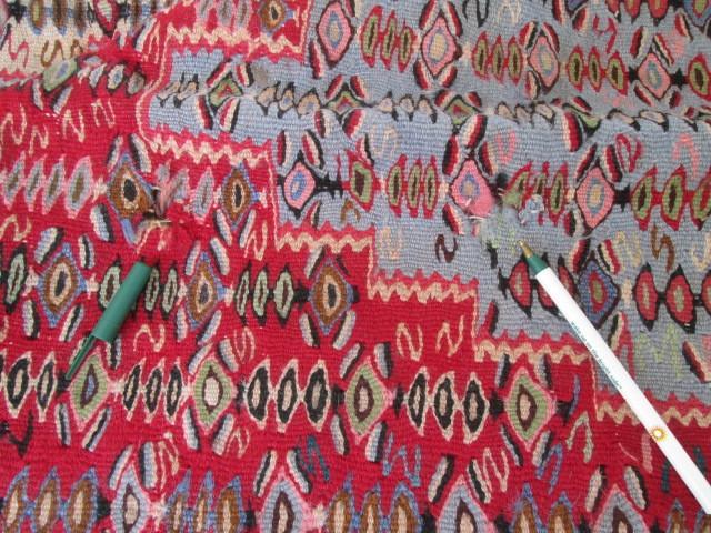 希少豪華!大型 繊細な柄のオールドキリム Kilimビンテージ アンティーク/店舗什器内装インテリア絨毯カーペット70's80's_画像9