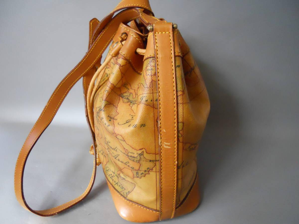 ♪ 素適 プリマクラッセ 地図柄 巾着タイプ ショルダーバッグ  日本地図 ♪_画像2