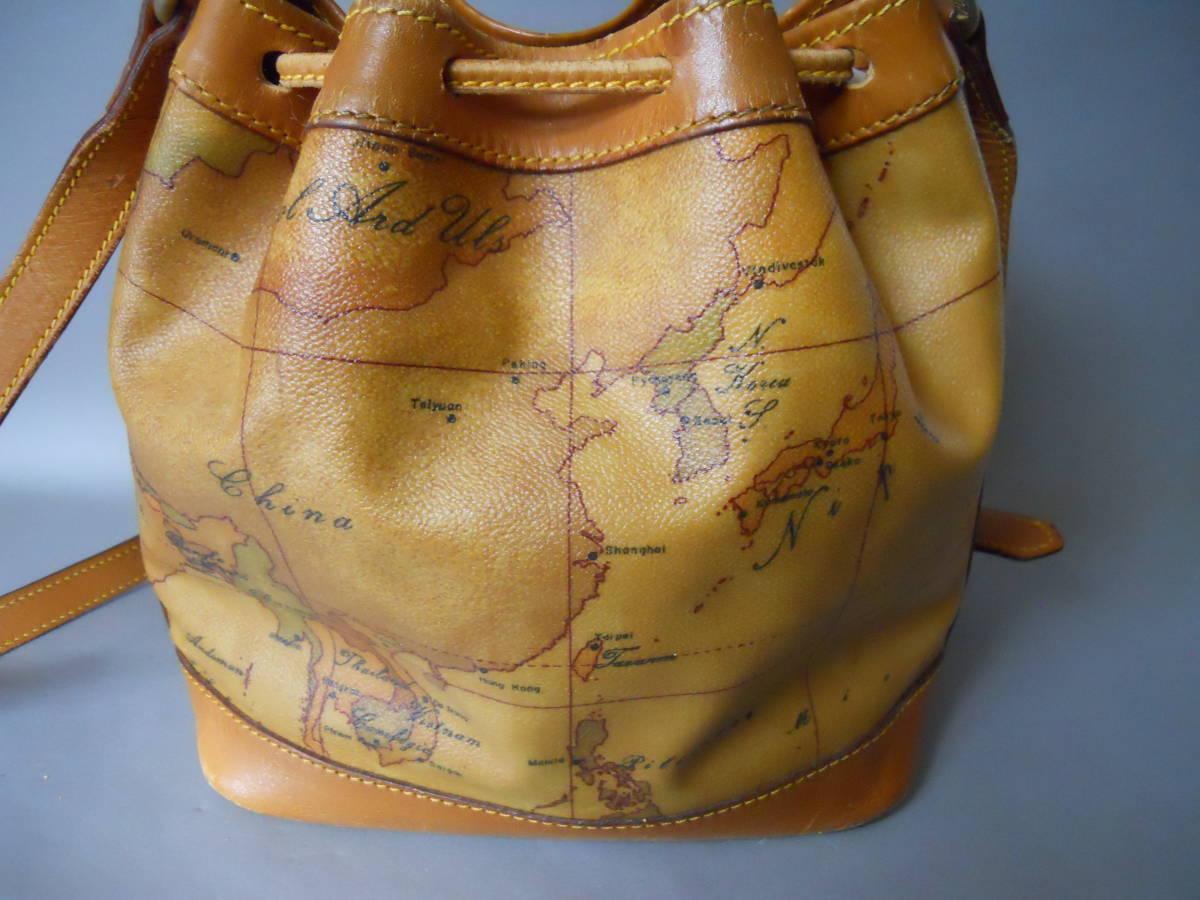 ♪ 素適 プリマクラッセ 地図柄 巾着タイプ ショルダーバッグ  日本地図 ♪_画像3