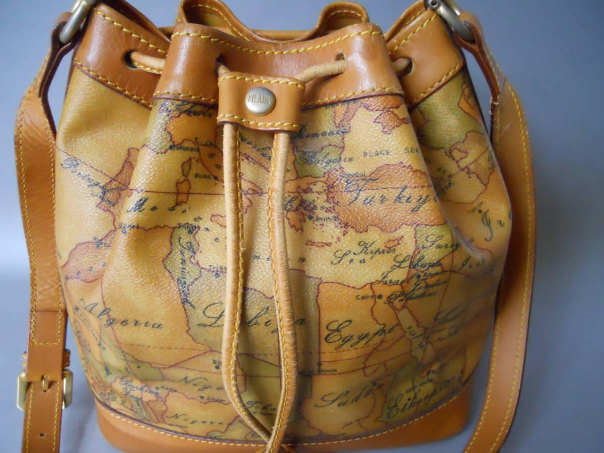 ♪ 素適 プリマクラッセ 地図柄 巾着タイプ ショルダーバッグ  日本地図 ♪_画像9